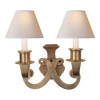 Visual Comfort Studio Savoy 2 Light Decorative Wall Light in Hand-Rubbed Antique Brass SP2000HAB-NP