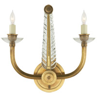 Visual Comfort Studio Olivia 2 Light Decorative Wall Light in Crystal with Antique Brass Accents SP2025HAB