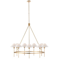 J. Randall Powers Hackney 9 Light 42 inch Hand-Rubbed Antique Brass Chandelier Ceiling Light, J. Randall Powers, Large, Natural Paper Shade