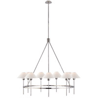 Visual Comfort J. Randall Powers Hackney 9 Light 42-inch Chandelier in Polished Nickel, Large, Natural Paper Shade SP5014PN-NP