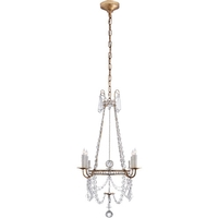 Visual Comfort SP5030GI-CG J. Randall Powers Sharon 4 Light 24 inch Gilded Iron Chandelier Ceiling Light, J. Randall Powers, Small, Clear Crystal