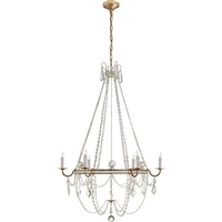 J. Randall Powers Sharon 6 Light 36 inch Gilded Iron Chandelier Ceiling Light, J. Randall Powers, Medium, Clear Crystal