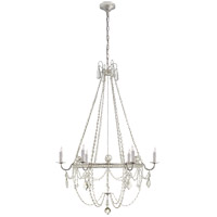 J. Randall Powers Sharon 6 Light 36 inch Burnished Silver Leaf Chandelier Ceiling Light, J. Randall Powers, Medium, Clear Crystal