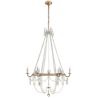 Visual Comfort SP5031GI-CG J. Randall Powers Sharon 6 Light 36 inch Gilded Iron Chandelier Ceiling Light, J. Randall Powers, Medium, Clear Crystal