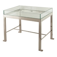 Visual Comfort Studio J. Randall Powers Park Avenue T Table in Polished Nickel and Clear Glass SPF1000PN