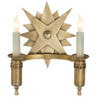 John Rosselli Miguel 2 Light 9 inch Hand-Rubbed Antique Brass Decorative Wall Light