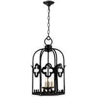John Rosselli Baltic 3 Light 13 inch Aged Iron with Wax Foyer Pendant Ceiling Light