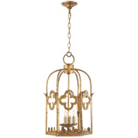 Visual Comfort Studio Baltic 3 Light Ceiling Lantern in Gilded Iron with Wax SR5005GI