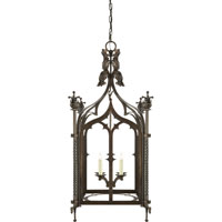 Visual Comfort Studio Furlow 4 Light Ceiling Lantern in Aged Iron with Wax SR5010AI