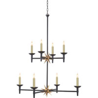 Visual Comfort Studio Nicola 8 Light Chandelier in Aged Iron with Gilded Iron Accent SR5013AI/GI