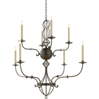 Visual Comfort Studio Felipe 8 Light Chandelier in Aged Iron with Wax SR5015AI