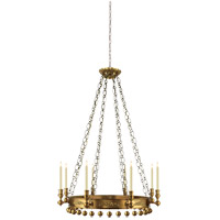 Studio Natalya 8 Light 35 inch Hand-Rubbed Antique Brass Chandelier Ceiling Light