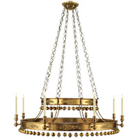 John Rosselli Natalya 8 Light 51 inch Hand-Rubbed Antique Brass Chandelier Ceiling Light