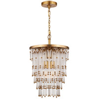 Visual Comfort Studio Mia 5 Light Pendant in Hand-Rubbed Antique Brass with Clear Glass Shade SR5110HAB-CG