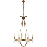 Visual Comfort John Rosselli Savannah 6 Light 30 inch Hand-Rubbed Antique Brass Chandelier Ceiling Light SR5141HAB - Open Box