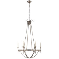 John Rosselli Savannah 6 Light 30 inch Sheffield Silver Chandelier Ceiling Light