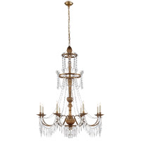 Studio Princess Mari Ann 8 Light 37 inch Antique Gilded Wood Chandelier Ceiling Light