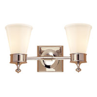 Visual Comfort Studio Siena 2 Light Bath Wall Light in Polished Nickel SS2002PN-WG