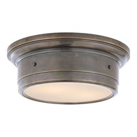 Visual Comfort Studio Siena 2 Light Flush Mount in Bronze with White glass SS4015BZ-WG