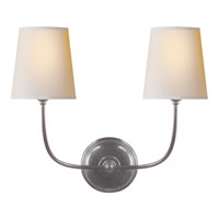 Visual Comfort Thomas OBrien Vendome 2 Light Decorative Wall Light in Antique Silver TOB2008AS-NP