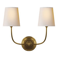 Visual Comfort Thomas OBrien Vendome 2 Light Decorative Wall Light in Hand-Rubbed Antique Brass TOB2008HAB-NP