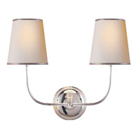 Visual Comfort Thomas OBrien Vendome 2 Light Decorative Wall Light in Polished Silver TOB2008PS-NP/ST