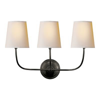 Visual Comfort Thomas OBrien Vendome 3 Light Decorative Wall Light in Bronze with Wax TOB2009BZ-NP