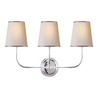 Visual Comfort Thomas OBrien Vendome 3 Light Decorative Wall Light in Polished Silver TOB2009PS-NP/ST