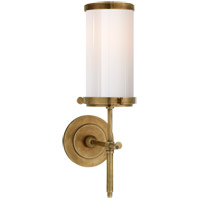 Visual Comfort Thomas OBrien Bryant 1 Light Bath Wall Light in Hand-Rubbed Antique Brass with White Glass Shade TOB2015HAB-WG