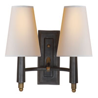 Visual Comfort Thomas OBrien Farlane 2 Light Decorative Wall Light in Bronze with Antique Brass Accents TOB2046BZ/HAB-NP