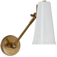 Visual Comfort Thomas OBrien Antonio 8-inch Adjustable Wall Lamp in Hand-Rubbed Antique Brass, One-Arm, Antique White Shade TOB2065HAB-AW