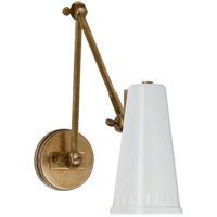 Visual Comfort Thomas OBrien Antonio 8-inch Adjustable Wall Lamp in Hand-Rubbed Antique Brass, Two-Arm, Antique White Shade TOB2066HAB-AW