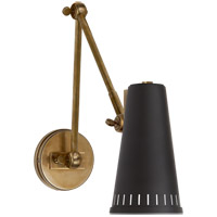 Thomas OBrien Antonio 29 inch 60 watt Hand-Rubbed Antique Brass Adjustable Wall Lamp Wall Light in Black, Thomas O''Brien, Two-Arm, Black Shade