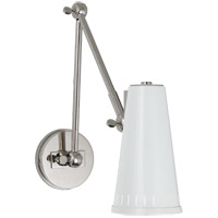 Thomas OBrien Antonio 29 inch 60 watt Polished Nickel Adjustable Wall Lamp Wall Light in Antique White, Thomas O''Brien, Two-Arm, Antique White Shade