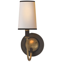 Visual Comfort Thomas OBrien Elkins 1 Light Decorative Wall Light in Bronze with Antique Brass Accents TOB2067BZ/HAB-NP/BT