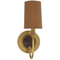 Visual Comfort TOB2067HAB/CHC-FS Thomas O'Brien Elkins 1 Light 6 inch Antique Brass with Chocolate Wood Decorative Wall Light in Fawn Silk