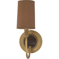 Thomas OBrien Elkins 1 Light 6 inch Antique Brass with Chocolate Wood Decorative Wall Light in Fawn Silk