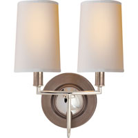 Visual Comfort Thomas OBrien Elkins 2 Light Decorative Wall Light in Antique Nickel with Polished Nickel TOB2068AN/PN-NP