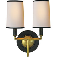 Visual Comfort Thomas OBrien Elkins 2 Light Decorative Wall Light in Bronze with Antique Brass Accents TOB2068BZ/HAB-NP/BT