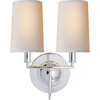 Visual Comfort Thomas OBrien Elkins 2 Light Decorative Wall Light in Polished Silver TOB2068PS-NP
