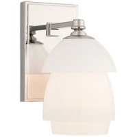 Visual Comfort TOB2111PN-WG Thomas OBrien Whitman 1 Light 5 inch Polished Nickel Bath Sconce Wall Light in White Glass