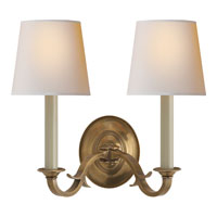Thomas OBrien Channing 2 Light 15 inch Hand-Rubbed Antique Brass Decorative Wall Light