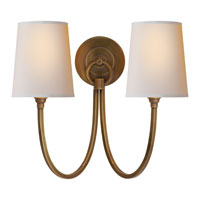 Visual Comfort Thomas OBrien Reed 2 Light Decorative Wall Light in Hand-Rubbed Antique Brass TOB2126HAB-NP
