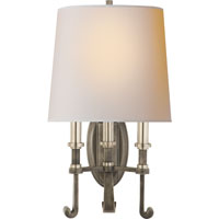 Visual Comfort Thomas OBrien Calliope 3 Light Decorative Wall Light in Sheffield Nickel with Antique Nickel TOB2137SN/AN-NP