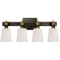 Visual Comfort TOB2153BZ/HAB-WG Thomas OBrien Bryant 4 Light Bronze and Hand-Rubbed Antique Brass Linear Bath Sconce Wall Light