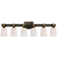 Visual Comfort TOB2154BZ/HAB-WG Thomas OBrien Bryant 6 Light Bronze and Hand-Rubbed Antique Brass Linear Bath Sconce Wall Light