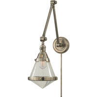 Thomas OBrien Gale 30 inch 60 watt Antique Nickel Task Wall Light in Seeded Glass