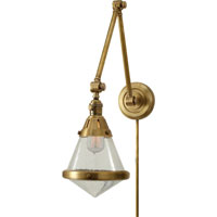 Thomas OBrien Gale 30 inch 60 watt Hand-Rubbed Antique Brass Task Wall Light in Seeded Glass