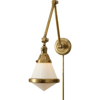 Visual Comfort TOB2156HAB-WG Thomas OBrien Gale 30 inch 60 watt Hand-Rubbed Antique Brass Task Wall Light in White Glass