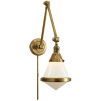 Thomas OBrien Gale 30 inch 60 watt Hand-Rubbed Antique Brass Task Wall Light in White Glass
